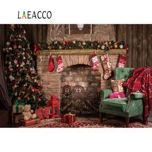 Laeacco 벽돌 오래 된 벽난로 크리스마스 트리 선물 테 디 베어 아기 사진 배경 사진 배경 Photocall 사진 스튜디오