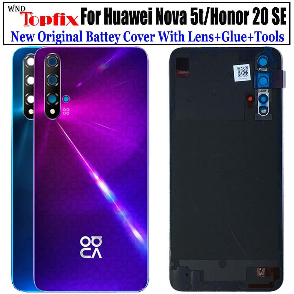 Funda trasera para Huawei Nova 5t, funda para batería Nova5t, funda para puerta trasera de cristal para Honor 20 se, funda para batería, funda con lente
