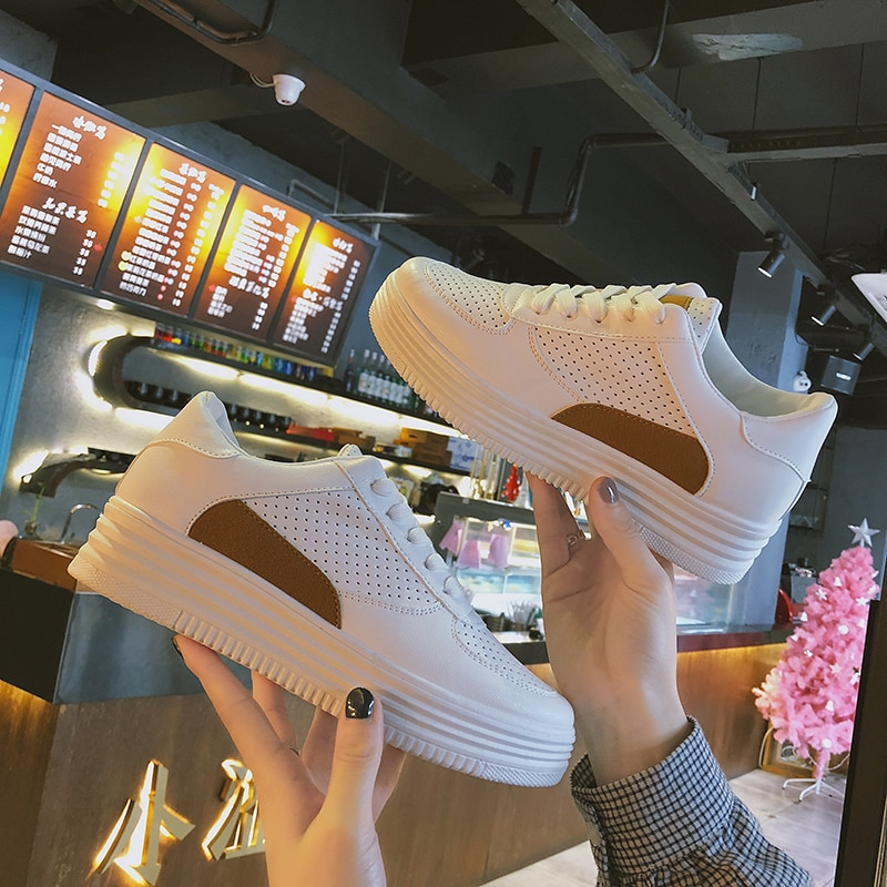 2019 Brand Platform Women Tennis Shoes Fitness Leather Female Chunky Sneakers Gym Women Sports Shoes Trainers Tenis Feminino 7