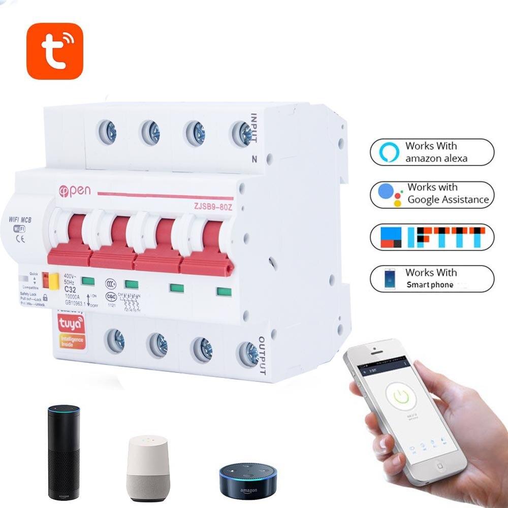 Disyuntor wi-fi con apertura Tuya (casa inteligente) 4P, control remoto, protección contra cortocircuitos y sobrecarga, Amazon Alexa, Google home para Sma