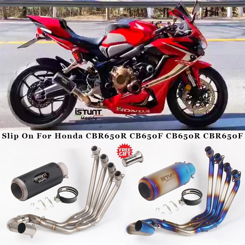 Motorcycle Exhaust Full System Escape Modified Link Pipe Carbon Fiber Muffler Slip On For Honda CBR650R CB650F CB650R CBR650F