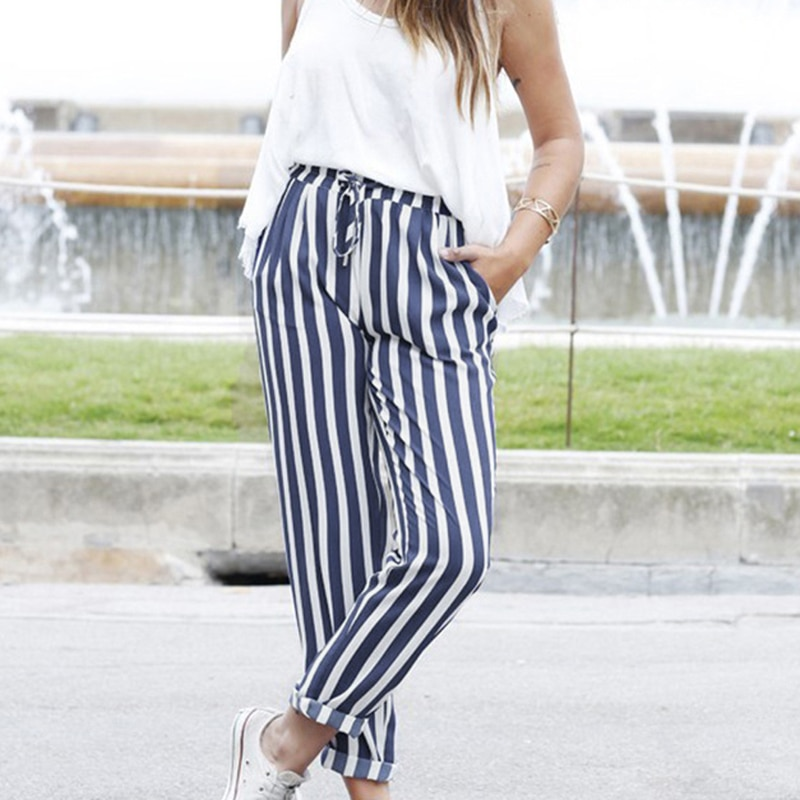 Pantalones Harem a rayas de cintura alta, pantalones de tiro medio, pantalones de zanahoria cónicos, pantalones de verano para oficina para mujer