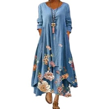 Dress 2021 summer style European and American fashion popular printed long sleeved dress female ins