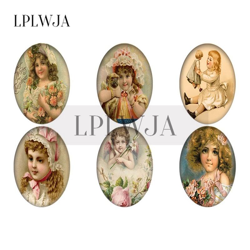 LPLWJA 18x25 мм, 30x40 мм Винтажные бусины для девушек с цветком овальной формы стеклянный кабошон фото плоские бусины для DIY ювелирных изделий Аксе...