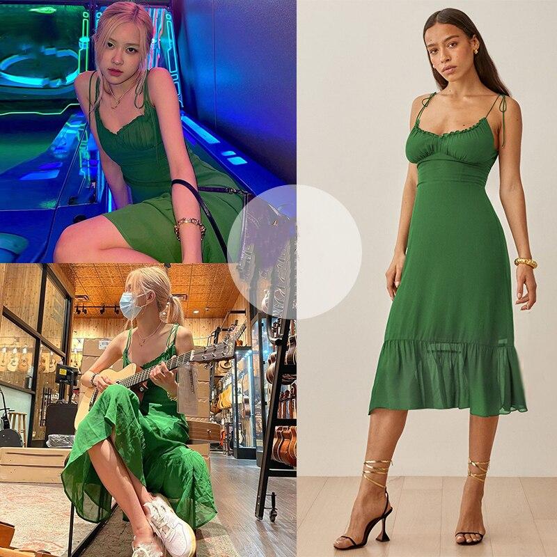 Kpop IU Seo Yea Ji ROSE Women Sexy Green Lace-Up Strapless Sling Dress Summer Clubwear Ladies Backless Deep V-Neck Solid Dresses