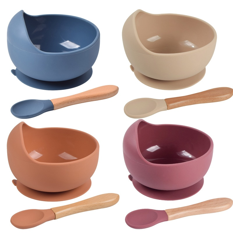 Baby Silicone Bowl Set BPA Free Non-slip Children's Suction Bowl Wooden Handle Silicone Spoon Food Grade Waterproof Tableware