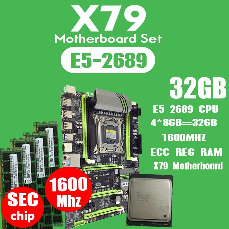 X79 турбо материнская плата LGA2011 ATX combos E5 2689 CPU 4 шт. x 8 ГБ = 32 ГБ DDR3 RAM 1600 МГц PC3 12800R PCI-E NVME M.2 SSD