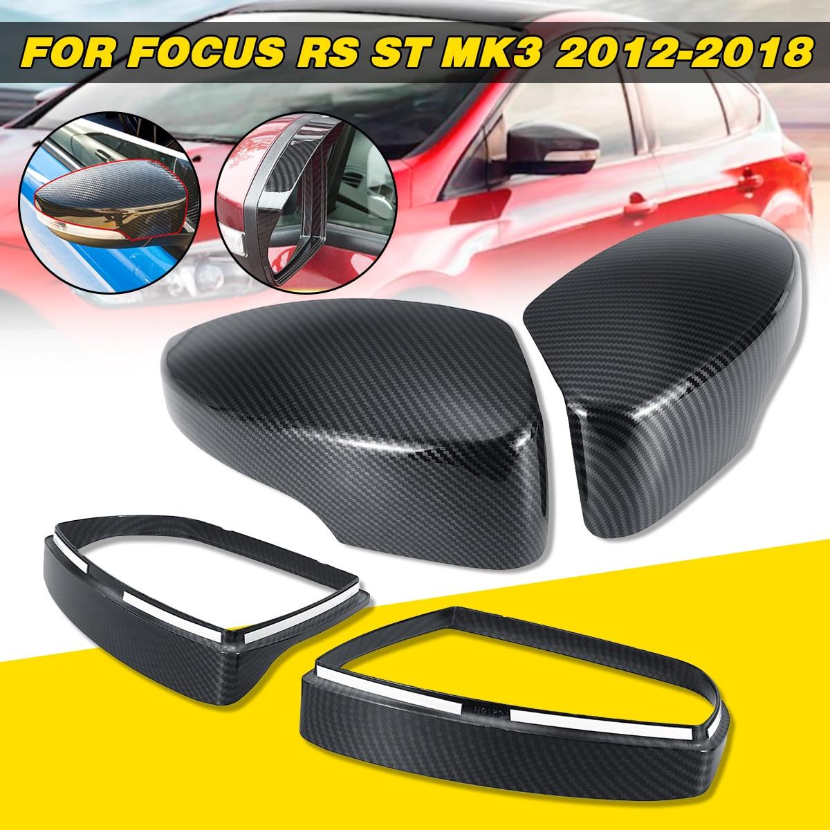 ABS Carbon Fiber Color Side Door Mirror Cover Rainproof Visor Frame Sun Guard Sticker For Ford For Focus RS ST MK3 2012-2018