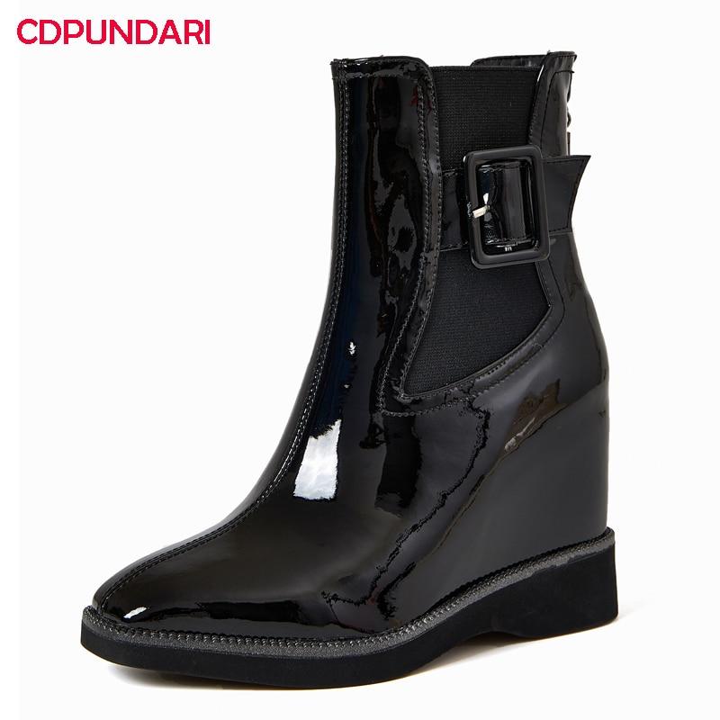 NEW Genuine Leather Wedges Platform Ankle Boots Women Autumn Winter Super High Heels Modern Boots Shoes Bottes Plateforme Femme