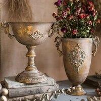 europe gold silver vase handmade handicrafts fashion metal tabletop flower vase study hallway home wedding decoration