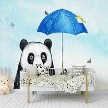 Milofi custom 3D wallpaper murals cute panda umbrella animal bird fresh cute hand-painted childrens room decoration wallpaper