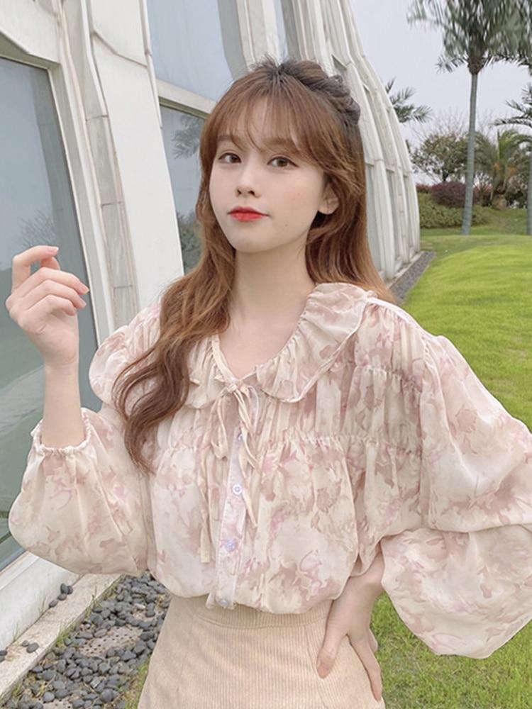 French Chiffon Women's Design Sense 2021 New Spring And Autumn Bubble Long Sleeve Chiffon Shirt