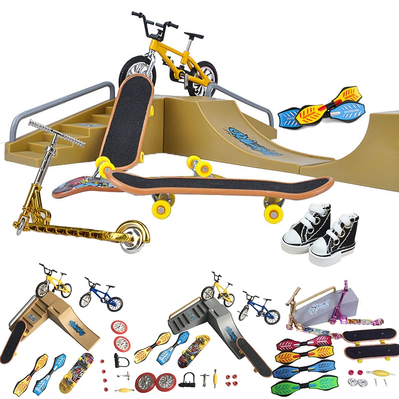 AliExpress - Two Wheel Finger scooter deck bmx Fingertip Fingerboard shoes mini ramp skateboarding finger skate Board bicycle Set Kids Gifts