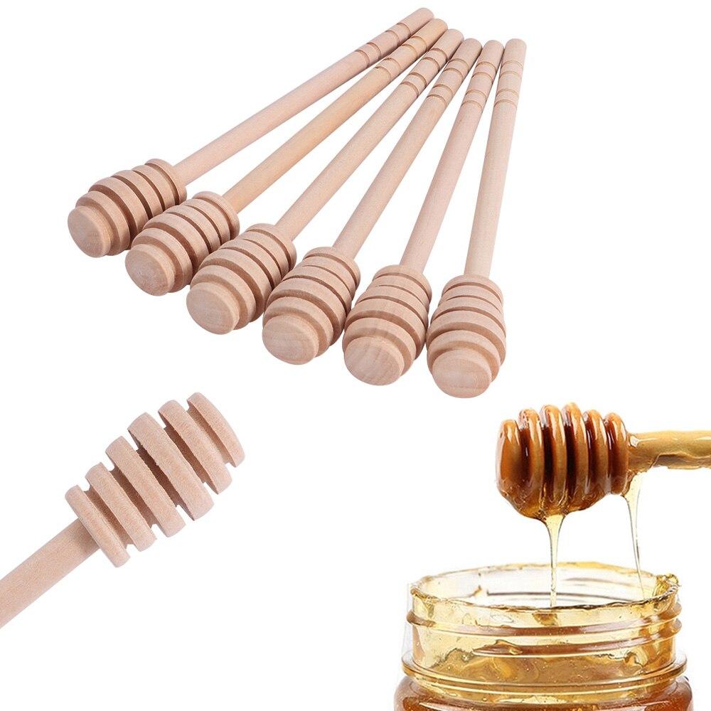 6 pçs barra de mistura de mel prático lidar com pote de madeira colher de leite de café portátil barra de agitação de chá