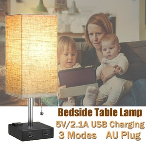 Multifutional Bedside Light Table Desk Lamp Fabric Night Light With Dual USB Ports Outlets for Home Living Room Bedrooms Office