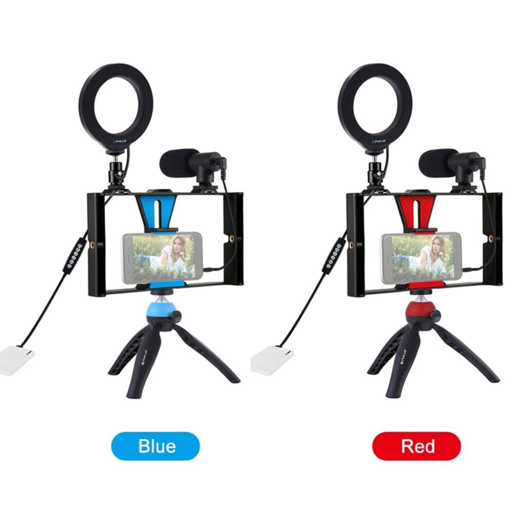 Universal Phone 7 in 1 Live Broadcast Rig Kit LED Selfie Tripod Mount Microphone enlarge