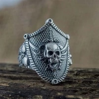 new skull sword shield exaggerated ring for men retro style gothic punk ring size 7 12