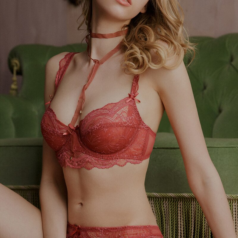 Women's Underwear Lingerie Set High-grade Lace Embroidery Push Up Bras Panties Brief Sets Unlined Sexy transparent Bra