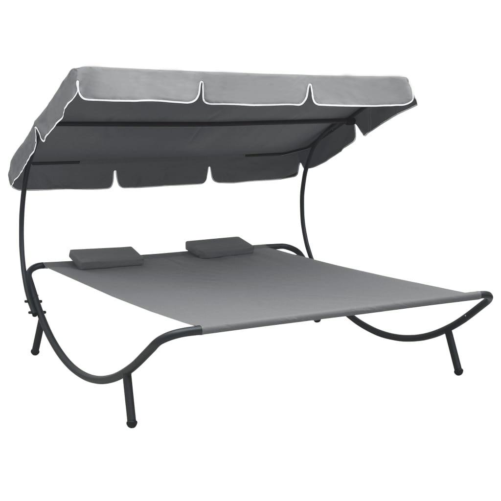 سرير شمسي خارجي قابل للحمل سرير صالة مزدوج مع مظلة قابلة للتعديل ووسادة مسند الرأس رمادي/بني/أبيض [US-Stock]