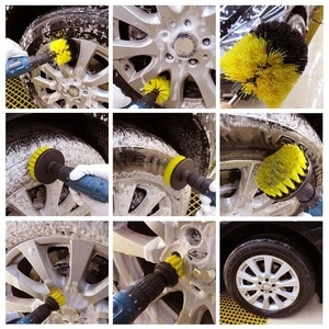 Image 5 - 3 шт. круглая полностью электрическая щетина дрель роторный набор инструментов для уборки скруббер чистящий инструмент кисти инструмент для мытья автомобиля