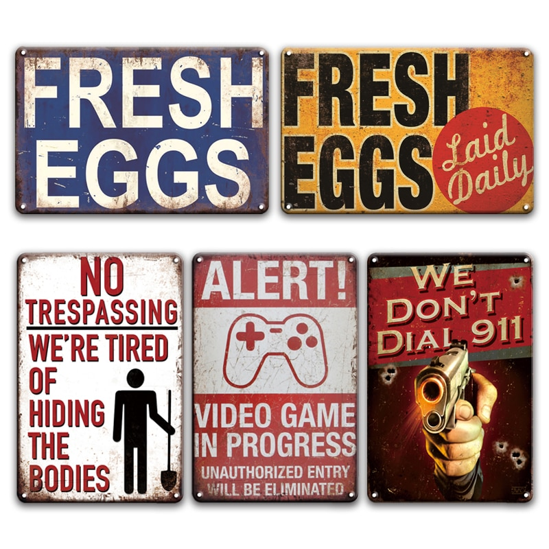 Retro FRESH EGGS Metal Tin Sign AREA 51 Warning NO TRESPASSING Iron Painting Restaurant Home Farmhouse Wall Decor