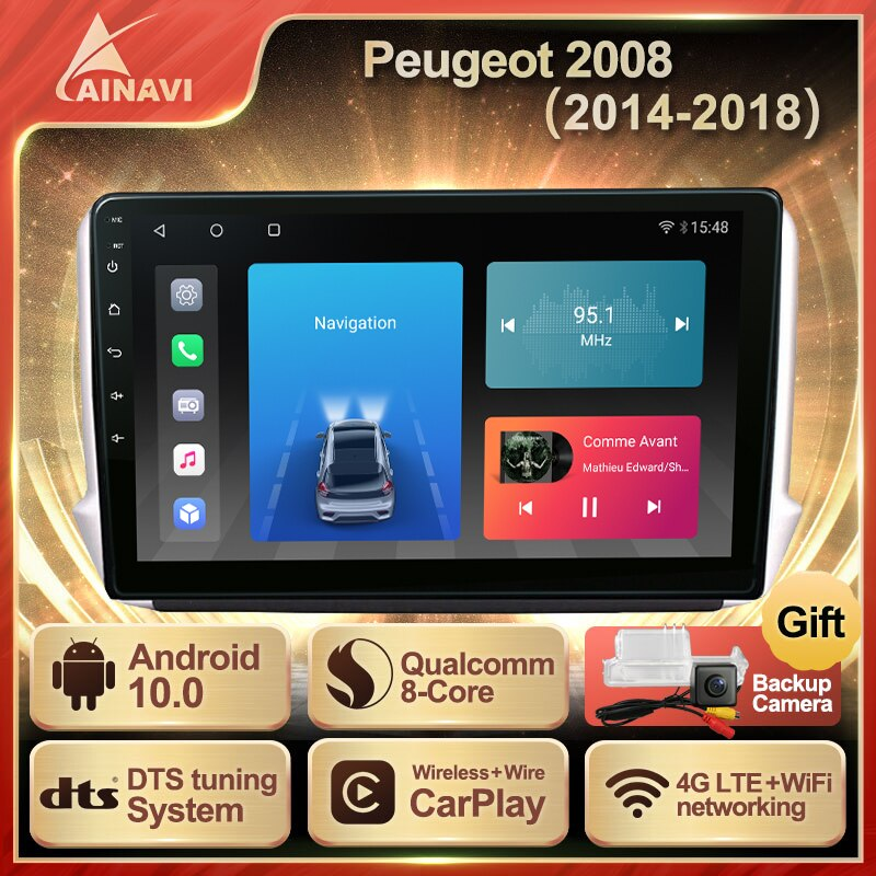 Car Radio Android 10.0 QLED Screen For Peugeot 2008 2014-2018 Auto Stereo Multimedia Video Player Na