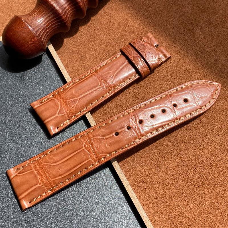 Correa de cocodrilo hecha a mano para hombre y mujer, 16MM, 18MM,...