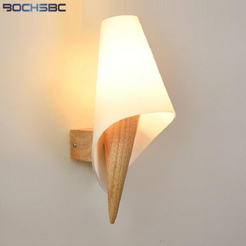 BOCHSBC Torch Wall Light Bed Mirror Nlights Lamp Nordic Modern Glass Wood Art Decor Lighting LED Creative Fixture Ice Cream Form