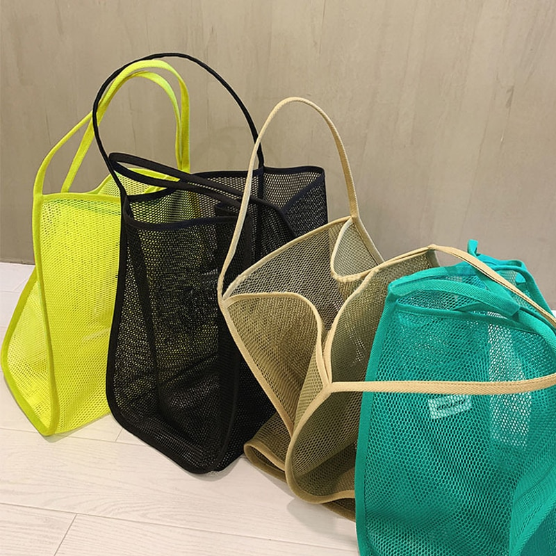 Women's 2021 New Ins Wind Transparent Mesh Single Shoulder Bag Fashionable Lightweight All-match Shopping Bag Beach Bag