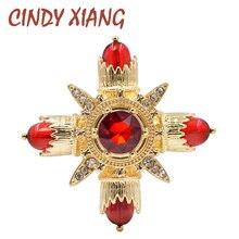 Broches de Color rojo con diseño de nueva Cruz CINDY XIANG para mujer, accesorios de abrigo estilo barroco, broche de boda, regalo de alta calidad