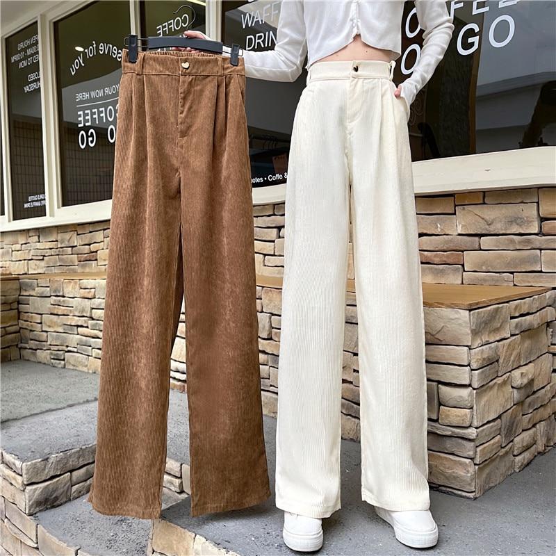 Женские брюки, Осенние яркие однотонные Вельветовые женские брюки с высокой талией, прямые свободные женские брюки с широкими штанинами