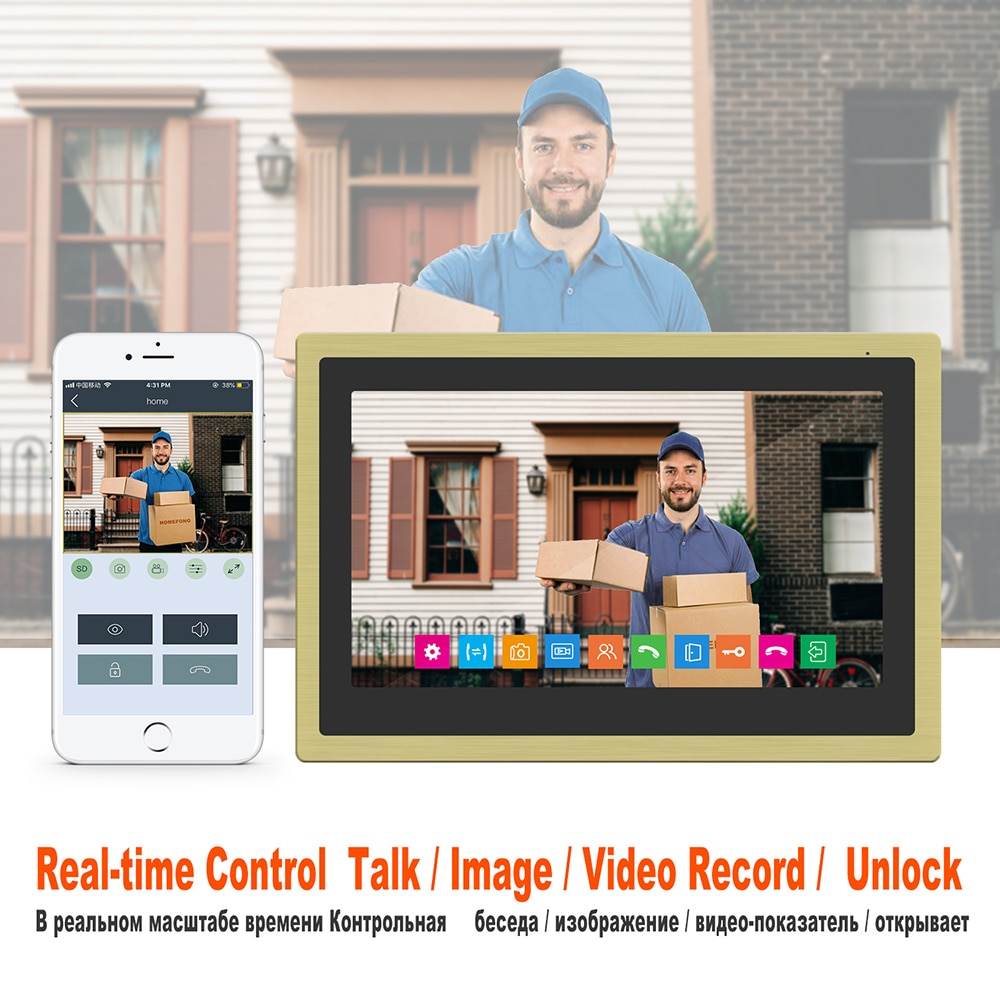 WiFi Video Intercom for Home Security System 1080P Outdoor Doorbell Camera 10 Inch Touch Screen Monitor  Smart Phone APP Control enlarge