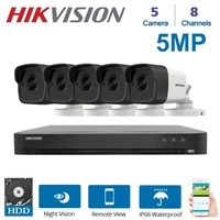 hikvision 8channels dvr video surveillance recorder with 5 pcs 5mp night vision security camera kit