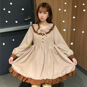 Japanese College Lolita round Neck Lantern Sleeve Bow High Waist Slimming Flounce Dress for Women Autumn sweet lolita dress