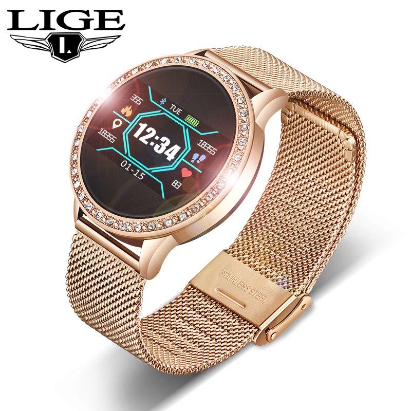 Reloj inteligente LIGE para mujer, Monitor de ritmo cardíaco, de presión arterial, rastreador deportivo, banda inteligente, reloj despertador, recordatorio, reloj inteligente