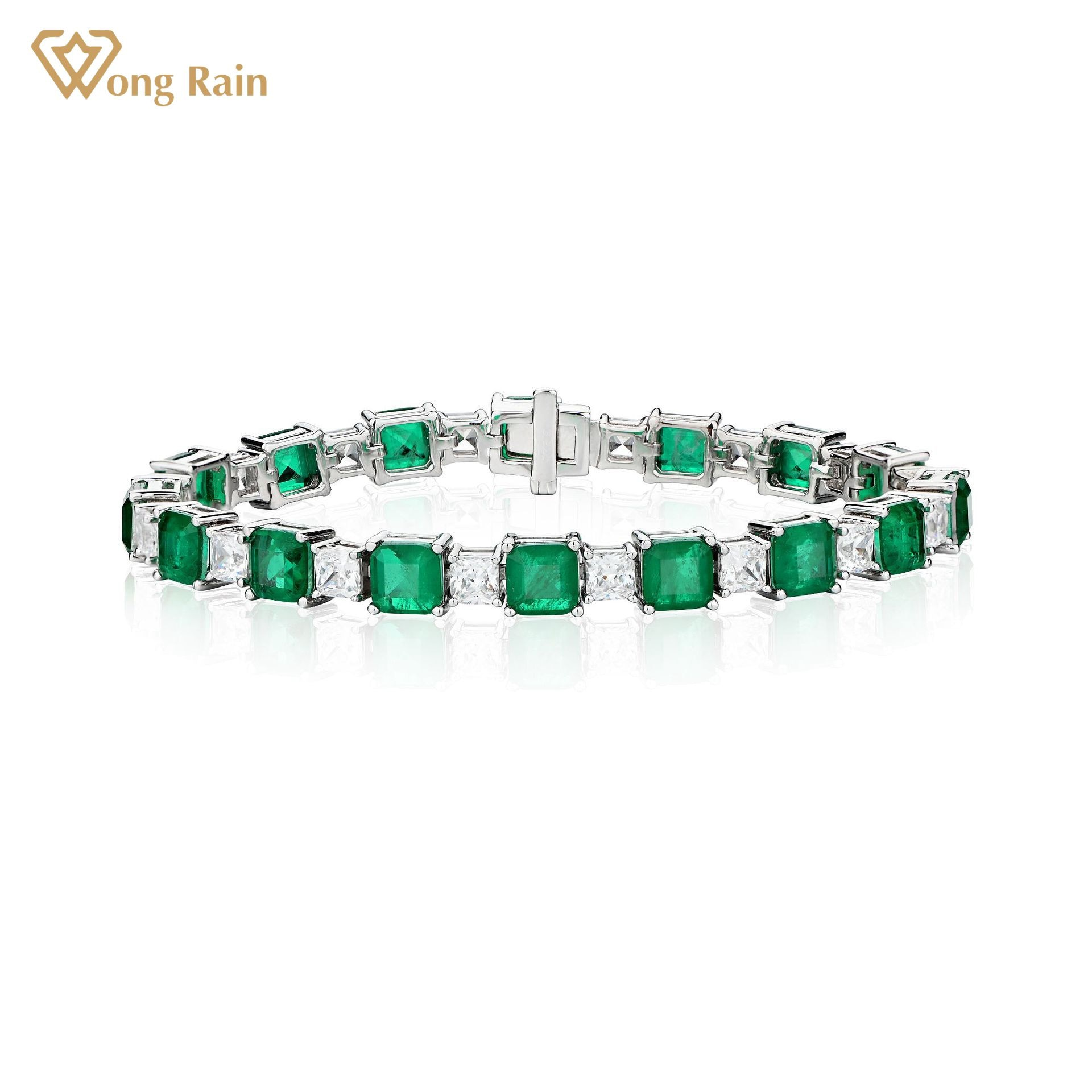 Wong Rain 925 Sterling Silver Emerald Created Moissanite Gemstone Personality Vintage Charm Bracelets Engagement Fine Jewelry