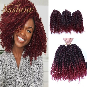 Synthetic Crochet Curly Braid Hair Ombre Braiding Hair Extension 3pcs/pack Marlybob Afro Kinky Twist Freetress Braids