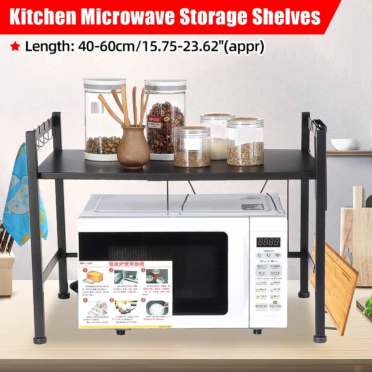 طبقة مزدوجة المطبخ قابل للسحب تخزين الرف المعادن فرن الميكروويف تخزين الرف عدم الانزلاق رف توابل منظم أدوات المطبخ