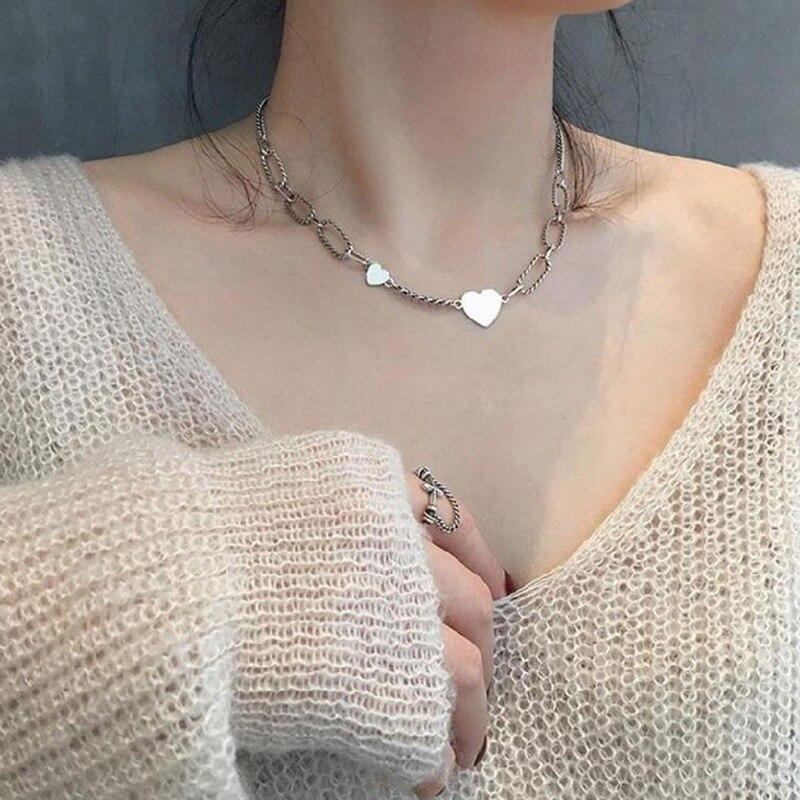 2020 nuevo temperamento Retro amor corazón colgante cadenas gruesas Collar para mujeres tailandés Color plateado joyería de fiesta