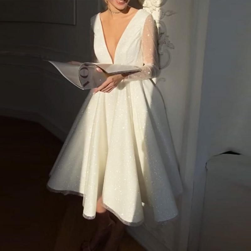 TULX Homecoming Dresses Sequin V Neck Elegant Short Midi Dress Wedding Evening Dresses Dance Queen Dress Return to Home Dresses