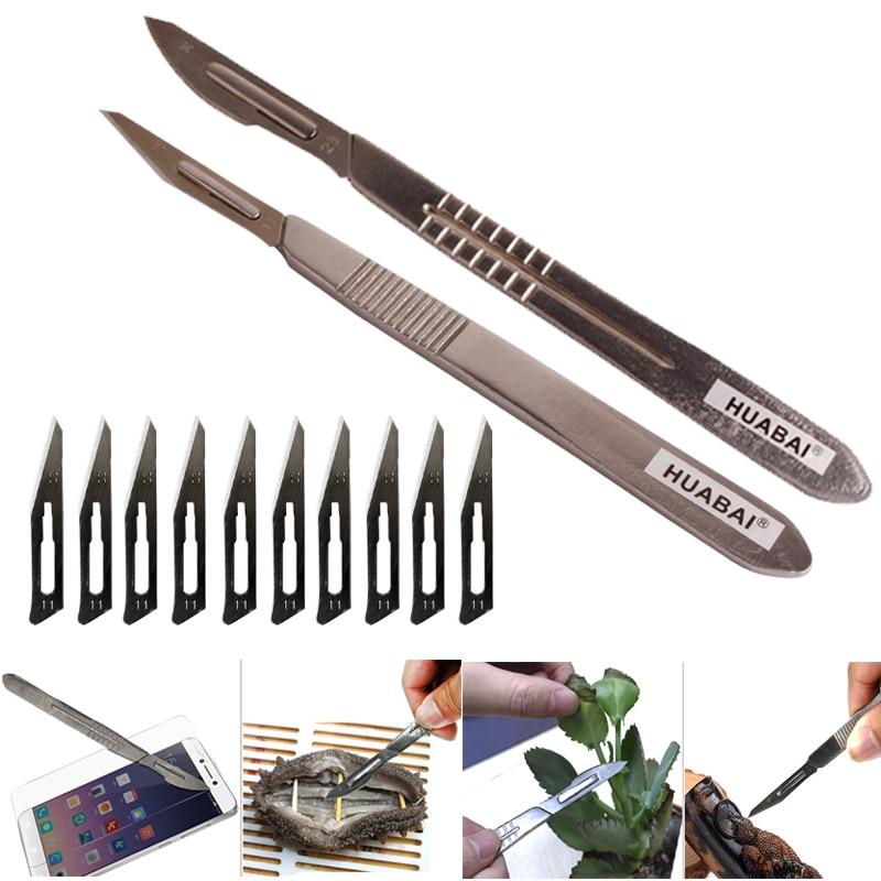 20 stück Carbon Stahl Chirurgische Skalpell Klingen + 1 stücke Griff Skalpell DIY Schneiden Werkzeug PCB Reparatur Tier Chirurgische Messer sehr sharp