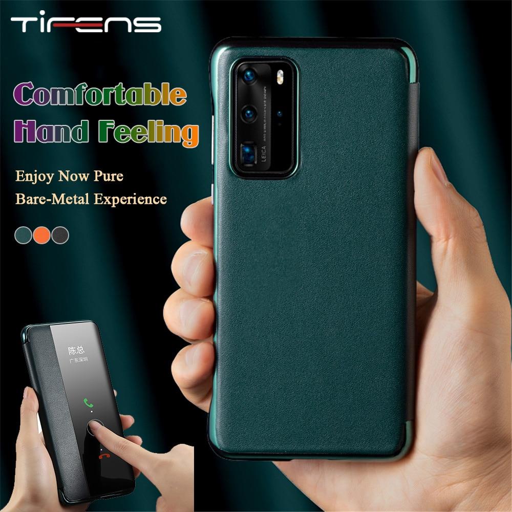 Véritable de luxe P40pro En Cuir Officiel Pour Huawei P40 Mate 30 Pro Smart View Fenêtre Tactile PC Placage Sacs de Téléphone Couverture