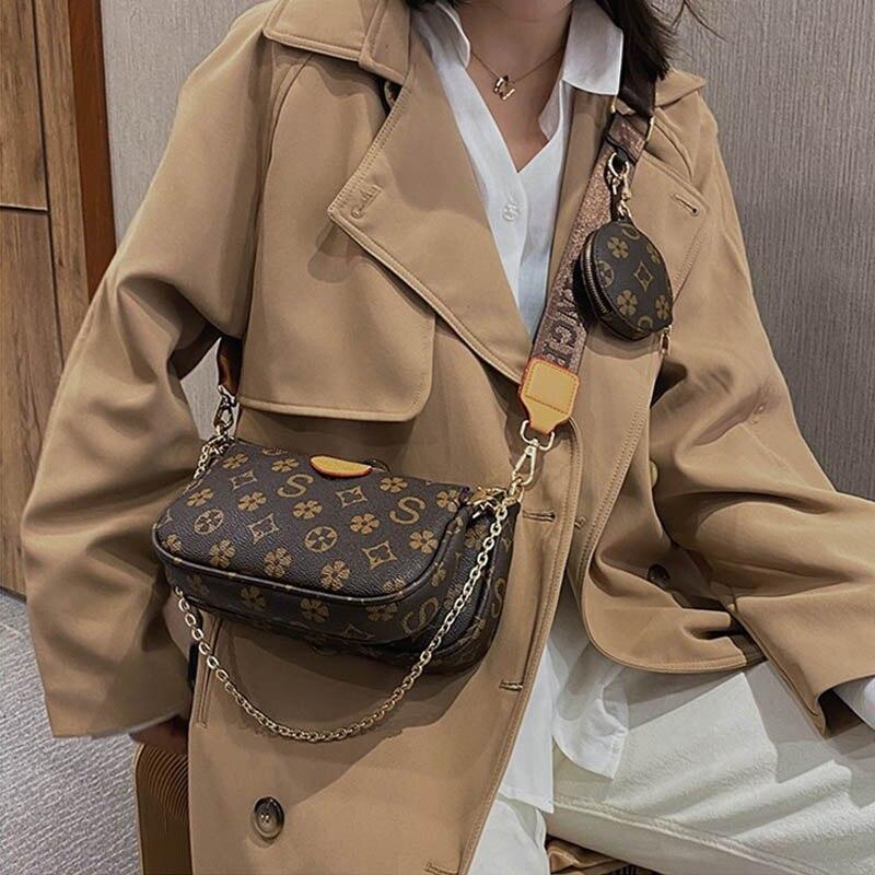 Famous Brand Bag Luxury Crossbody Bag 3-in-1 Vintage Handbag PU Leather Tote Bags Fashion Majhong Bag 2020 for Women