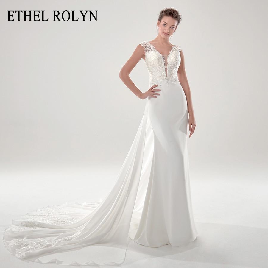 ETHEL ROLYN desmontable sirena Vestido de novia 2020 satén cuello pico espalda descubierta 2 en 1 apliques a vestidos de novia Vestido novia