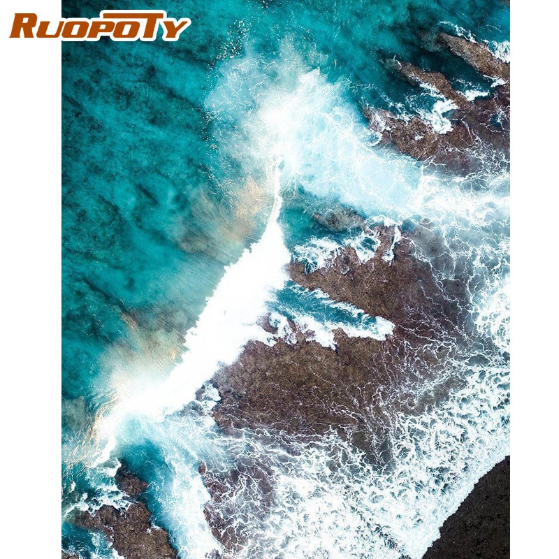 RUOPOTY Frame Picture DIY Painting By Numbers Seascape Modern Wall Art Canvas Painting Acrylic Coloring By Numbers Diy Gift Art