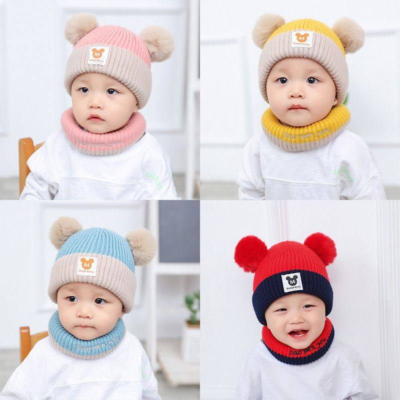 Baby Hats Autumn and Winter Children's Hats Thickened Warmth and Velvet Men's and Women's Baby Bibs