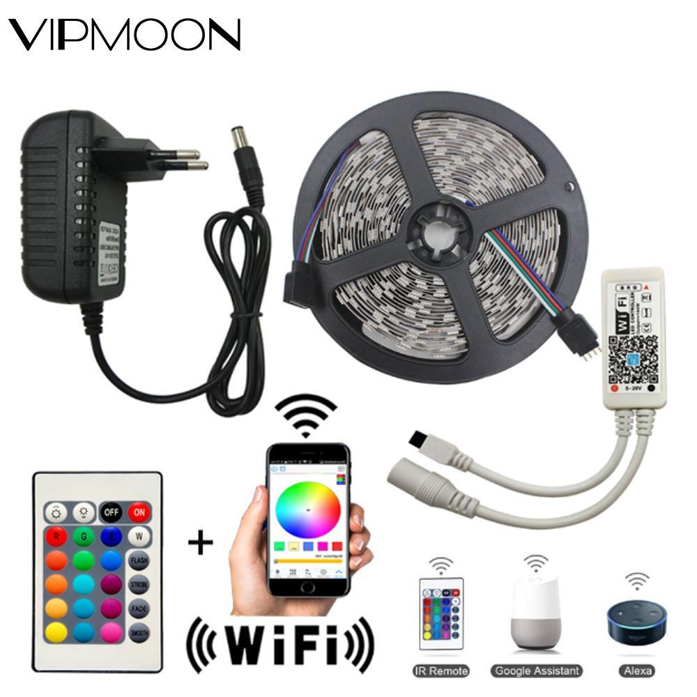 Wi-Fi, Светодиодные ленты светильник 5 м SMD 5050 60led 2835 RGB Светодиодные ленты e Диодная лента DC12V гибкая светодиодная лента RGB Светодиодные ленты ле...