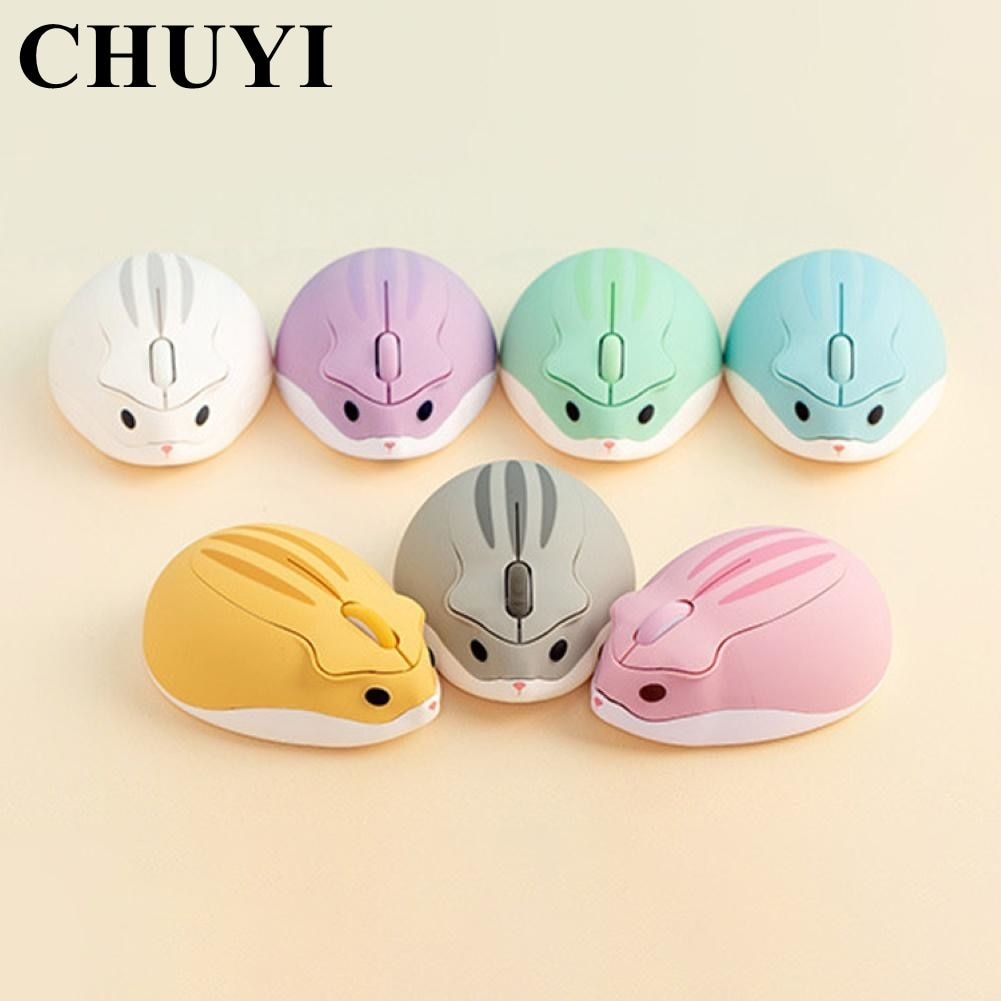 CHUYI 2.4G Wireless Optical Mouse Cute Hamster Cartoon Computer Mice Ergonomic Mini 3D Office Mouse