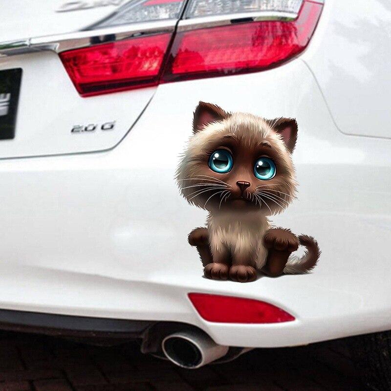 Cartoon Auto Body Sticker Cute Cat Safety Warning Sign Car Accessories