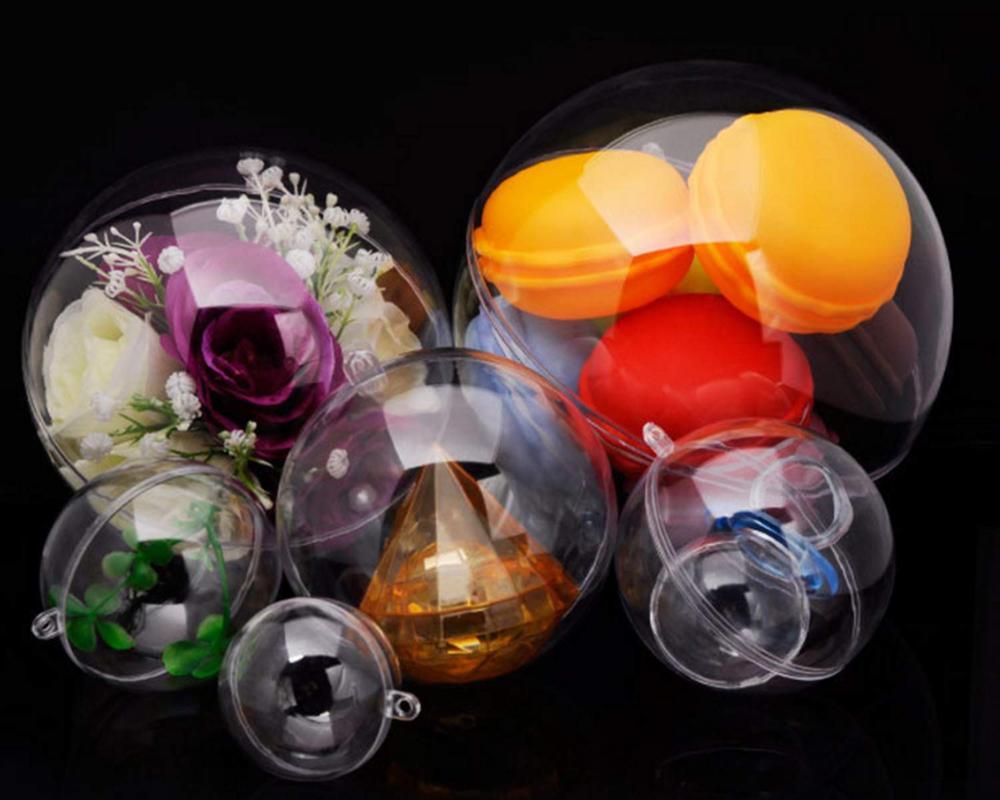 Lote de 24 bolas de 100mm de molde DIY para bomba, decoración navideña, Bola de acrílico colgante, adorno de bola rellenable de plástico transparente